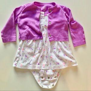 Carter's 2 Piece Floral Bodysuit Dress & Cardigan
